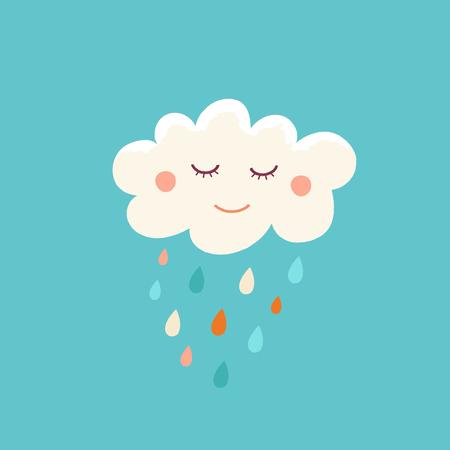 子供たちと子どもたちの幸せな漫画のキャラクターの雲保育ルーム印刷テンプレート、グリーティング カードのデザイン要素またはひな形とシンプルな幼稚なスタイルのベクトル漫画イラスト 写真素材 - 87228809