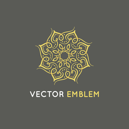 Vector logo design template - abstract symbol in ornamental arabic style - emblem for luxury products, hotels, boutiques, jewelry, oriental cosmetics, restaurants, shops and stores Фото со стока - 89761264