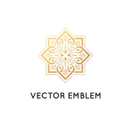 Vector icon design template, abstract symbol in ornamental Arabic style. Emblem for luxury products, hotels, boutiques and more. Иллюстрация