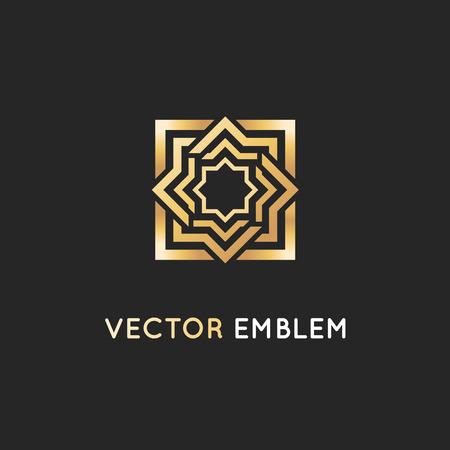 Vector pictogram ontwerpsjabloon, abstract symbool in decoratieve Arabische stijl. Embleem voor luxeproducten, hotels, boetieks en meer. Stock Illustratie