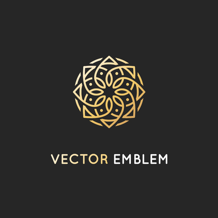 Vector icon design template, abstract symbol in ornamental Arabic style. Emblem for luxury products, hotels, boutiques and more.  イラスト・ベクター素材