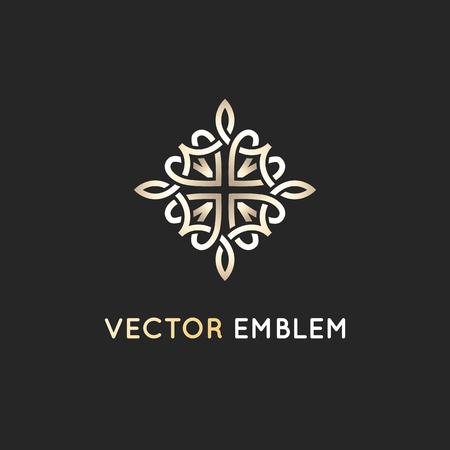 벡터 로고 디자인 서식 파일 - 장식용 아랍어 스타일에 추상적 인 기호.