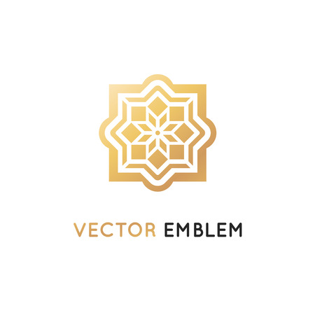 Vector logo design template - abstract symbol in ornamental Arabic style.