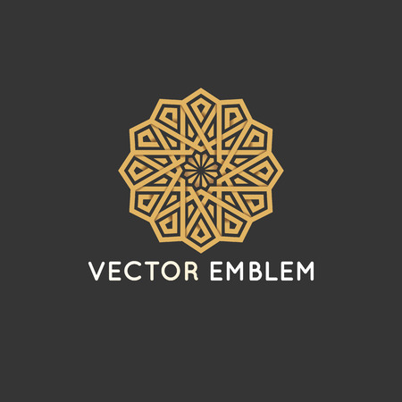 Vector logo design template - abstract symbol in ornamental arabic style. Banco de Imagens - 89783281