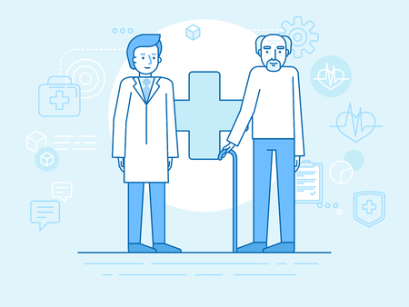 Vector illustration in flat linear style and blue colors - standing elderly man and doctor -  healthcare and retirement concept
