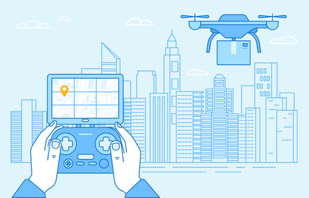Vector illustration in flat linear style and blue colors - drone quadcopter and hands holding flight controller - new technology ad delivery concept - drone flying over city landscape with box -  Vectores