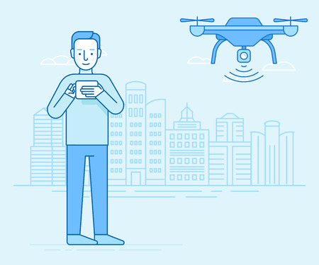 Vector illustration in flat linear style and blue colors - man holding flight controller and drone flying over city landscape with camera - new technology concept
