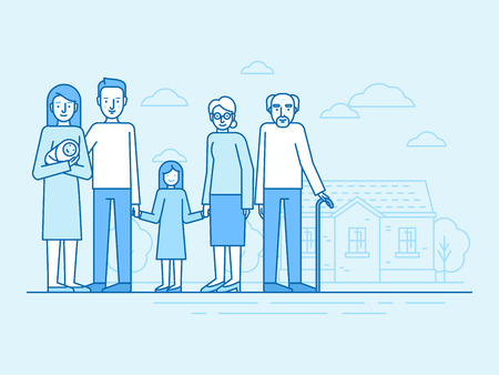 Vector flat linear illustration in blue colors - happy family with grandparents and children standing in front of the house