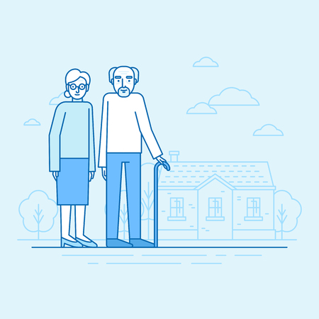 Vector flat linear illustration in blue colors - happy grandparents - senior woman and man standing in front of the house - retirement concept