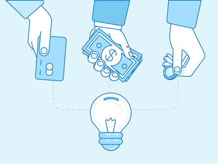 Vector crowdfunding concept in flat style - new business model - funding project by raising monetary contributions from people - hand putting coin inside the light bulb Çizim