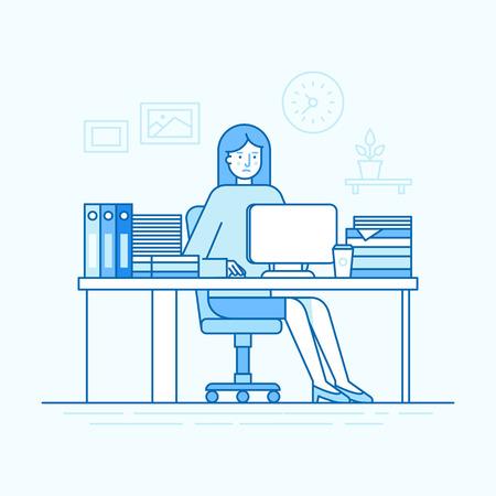 Illustration vectorielle dans un style linéaire plat branché et des couleurs bleus - femme travaillant assis au bureau avec un ordinateur et travaillant dur - employé occupé et surchargé Banque d'images - 91103161