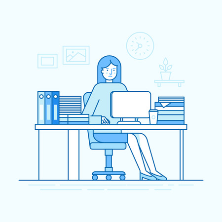 Vector illustration in trendy flat linear style and blue colors - woman working sitting at the desk with computer and hard working - busy and overloaded employee Иллюстрация