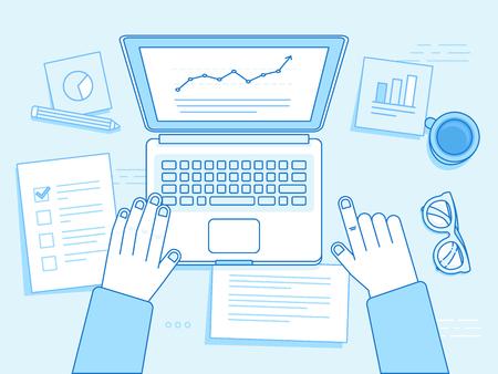 プロジェクト管理、経営戦略、金融開発 - に関連する直線的なトレンディなスタイルと青の色のベクトル ビジネス イラスト ノート パソコン、コー  イラスト・ベクター素材
