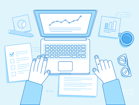 Vector business illustration in trendy linear style and blue colors related to project management, business strategy and financial development - hands with laptop, coffee cup, glasses and documents
