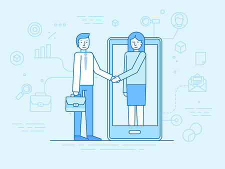 Vector illustration in flat linear style and blue colors - outsource business and remote work concept - male and female partners shaking hands - online cooperation