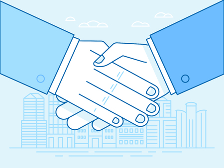 Handshake illustration in trendy flat and linear style and blue colors. Illustration