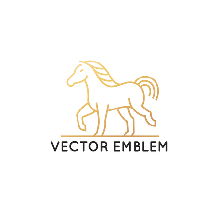 Vector horse logo template in trendy  linear style - mono line icon