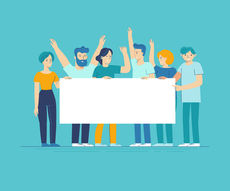 Vector illustration in flat line style - team of happy people holding white placard with copy space for text