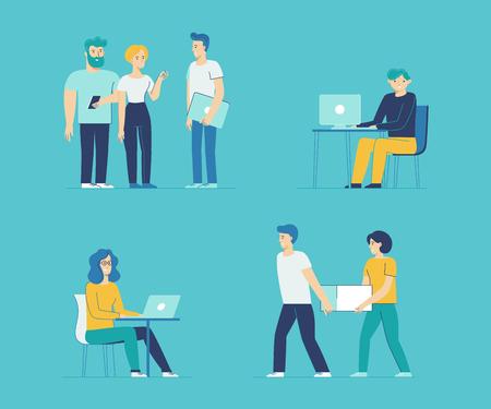 vector set de personnages de bande dessinée dans le style de ligne plat - les hommes et les femmes dans différentes situations de bureau au travail Vecteurs