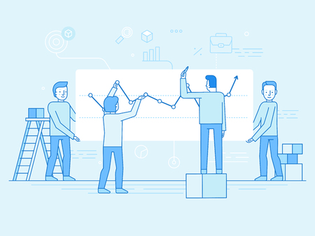 Vector illustration in flat linear style and blue color - business analytics and marketing concept Çizim