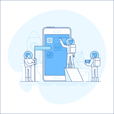 Vector illustration in flat linear style and blue color - app development concept - small people astronauts in space suits building code and design for mobile phone - start up metaphor