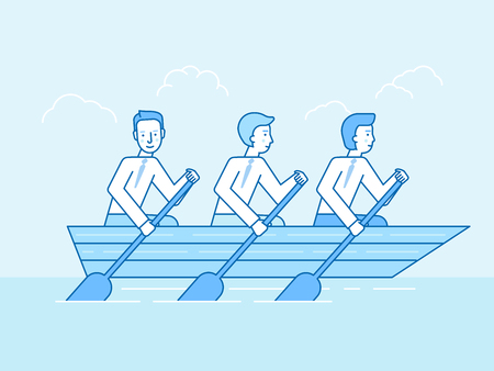Vector illustration in flat linear style and blue color, teamwork and cooperation concept. Three men in a boat sailing towards business goals metaphor. Illustration
