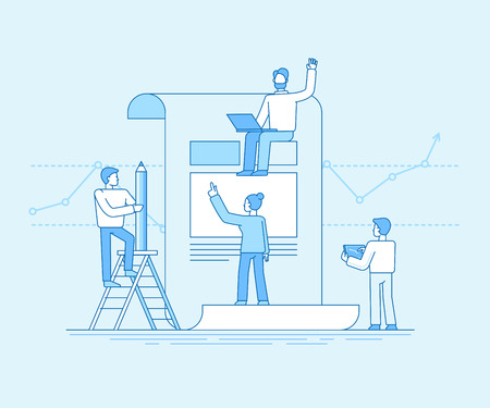 Flat linear style and blue color vector illustration. Small people building code and design and finance report for business start up teamwork concept.