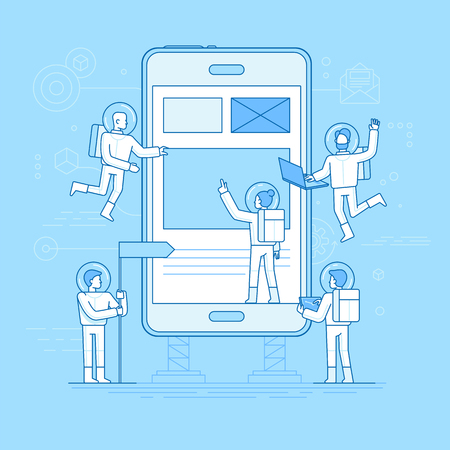 Flat linear style and blue color vector illustration app development concept. Small people astronauts in space suits building code and design for mobile phone, start up metaphor.
