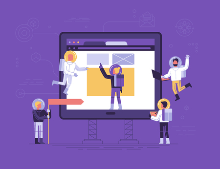 Flat linear style app development concept vector illustration, small people astronauts in space suits building code and design for mobile phone, start up metaphor.