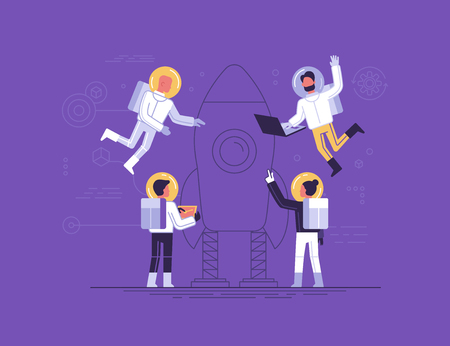 Trendy flat and linear style vector illustration. Teamwork and start up concept, small people in space suits constructing space ship. Banner and infographics design template.