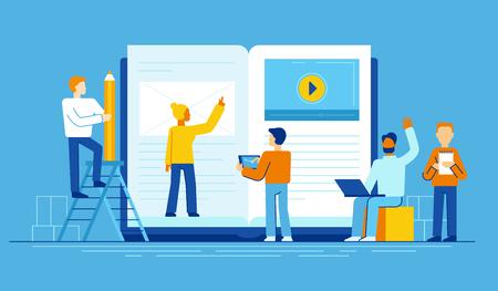 ilustración del vector en estilo plano - concepto de educación en línea - personas mayores que se comunican cerca de la pc grande con ebook y curso en línea