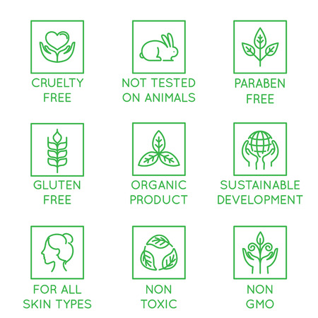 Vector set of design elements, logo design template, icons and badges for natural and organic cosmetics in trendy linear style - cruelty free, not tested on animals, paraben free, gluten free, organic product, sustainable development