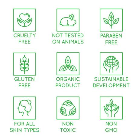 Vektorsatz Gestaltungselemente, Logodesignschablone, Ikonen und Ausweise für Natur- und Biokosmetik in der modischen linearen Art - grausamkeitsfrei, nicht an Tieren getestet, parabenfrei, glutenfrei, Bioprodukt, nachhaltige Entwicklung