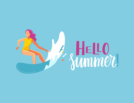 Vector summer illustration in modern trendy flat linear style.