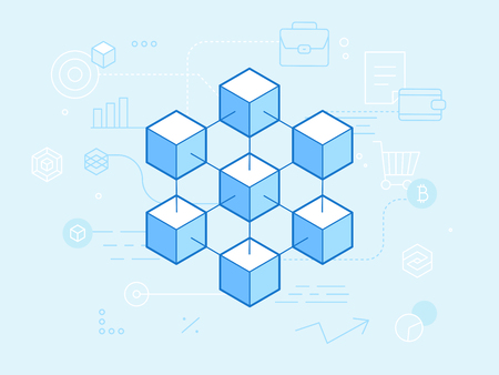 Vector flat linear illustration in blue colors - blockchain and cryptocurrency concept -  abstract financial technology background and banner