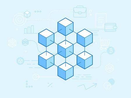 Vlakke lineaire vectorillustratie in blauwe kleuren - blockchain en cryptocurrency concept - abstracte financiële technische achtergrond en banner Vector Illustratie