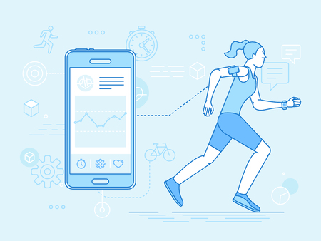 Vector flat linear illustration in blue colors - running woman - health app on the mobile phone and smart watch - health monitoring with mobile gadget concept Illustration