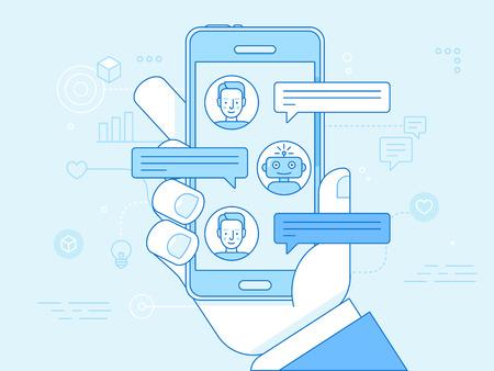 青い色のベクトルフラット線形イラスト - チャットボットのコンセプト - 仮想アシスタントとオンラインサポート 写真素材 - 100296381