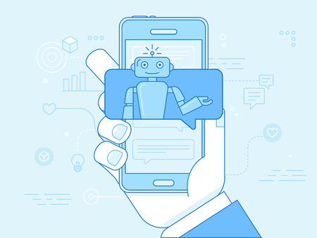 Vector flat linear illustration in blue colors - chatbot concept - virtual assistant and online support Ilustração
