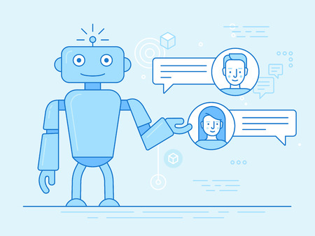 Vector flat linear illustration in blue colors - chatbot concept - virtual assistant and online support Illusztráció