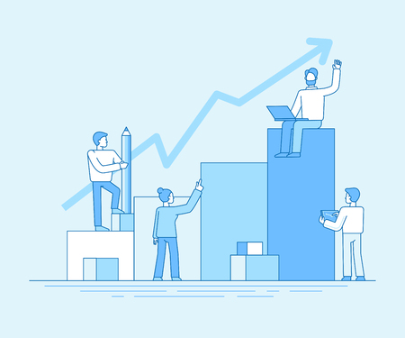 Vector illustration in flat linear style and blue color  - business analytics and marketing concept - team working on business report and analytics - business growth