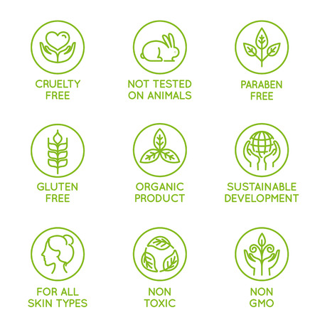 Vector set of design elements, design template, icons and badges for natural and organic cosmetics in trendy linear style - cruelty free, not tested on animals, paraben free, gluten free, organic product, sustainable development