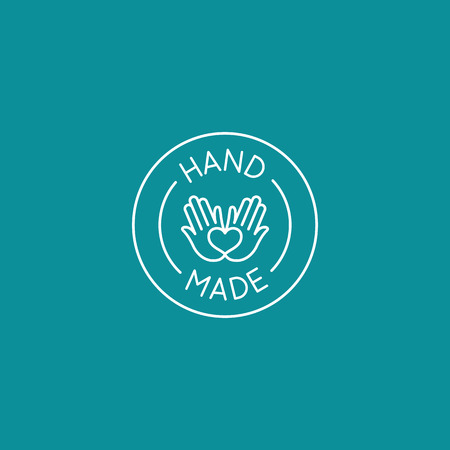 Vector emblem, badge and icon for handcrafted goods and products - round tag for packaging and label