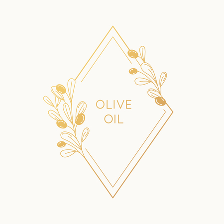 Vector linear frame and badge design for packaging for olive oil products, natural and organic cosmetics and beauty products - abstract logo template with copy space for text and leaves Zdjęcie Seryjne - 102770645