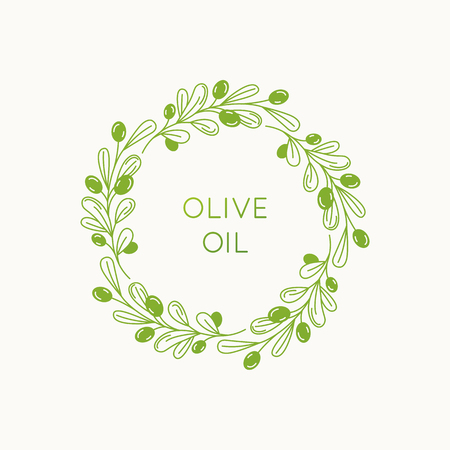 Vector linear frame and badge design for packaging for olive oil products, natural and organic cosmetics and beauty products - abstract logo template with copy space for text and leaves Banque d'images - 102727730
