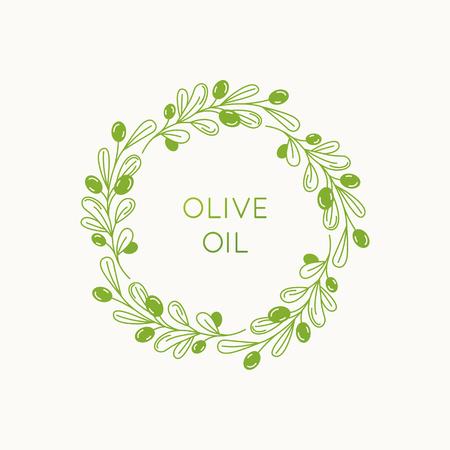 Wektor liniowy projekt ramki i znaczka do pakowania produktów z oliwy z oliwek, kosmetyków naturalnych i organicznych oraz produktów kosmetycznych - streszczenie szablon logo z miejscem na tekst i liście
