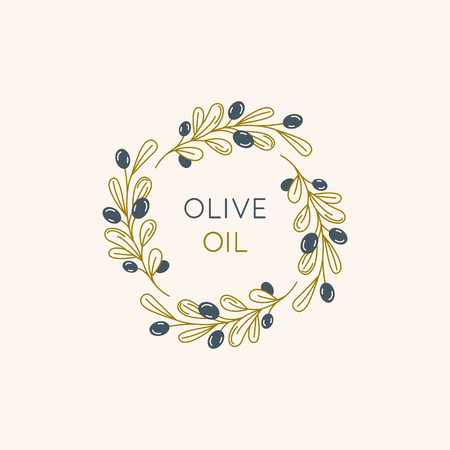 Vector linear frame and badge design for packaging for olive oil products, natural and organic cosmetics and beauty products - abstract logo template with copy space for text and leaves Zdjęcie Seryjne - 102794022