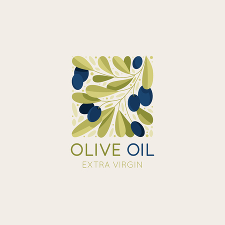 Vector logo design template and badge design for packaging for olive oil products, natural and organic cosmetics and beauty products