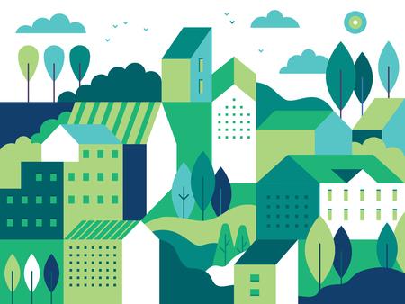 Vectorillustratie in eenvoudige minimale geometrische vlakke stijl - stadslandschap met gebouwen, heuvels en bomen - abstracte achtergrond voor koptekstafbeeldingen voor websites, banners, omslagen Stockfoto - 103147089
