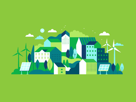 Vector illustration in simple minimal geometric flat style - city landscape with buildings, hills and trees with solar panels and wind turbines  - eco and green energy concept - abstract background for header images for websites, banners, covers